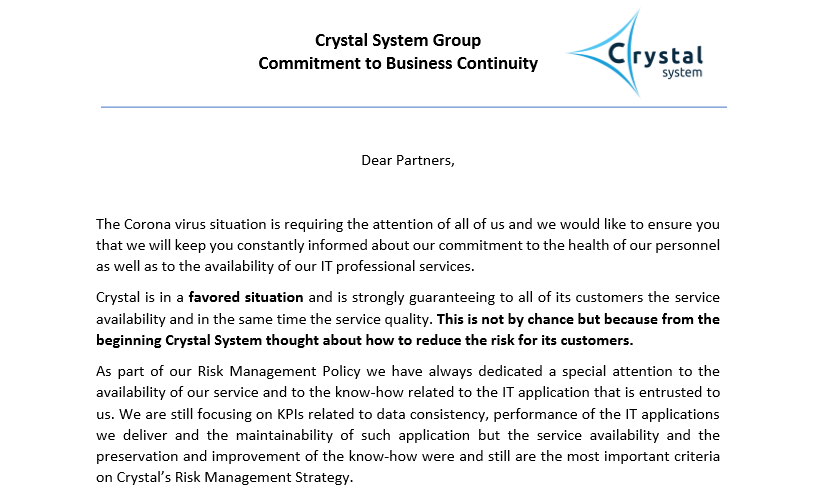 2020 CSG Commitment to Business Continuity letter